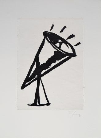 Linogravure Kentridge - Rebus Megaphone