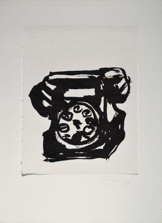 Linogravure Kentridge - Rebus Telephone