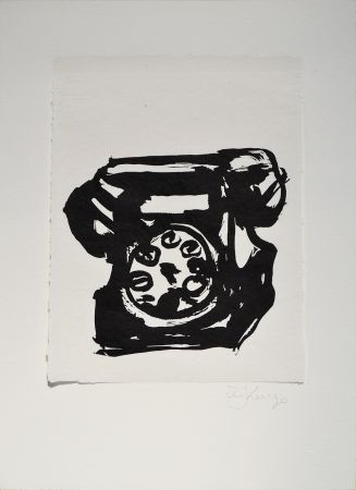 Linogravure Kentridge - Rebus Telephone