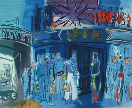 Lithographie Dufy - Reception d'in amiral Anglais sur un bateua Francais