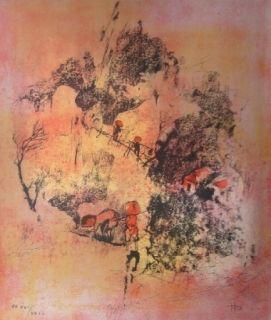 Lithographie Lebadang - Recolte de riz