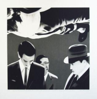 Lithographie Equipo Realidad - Reconocimiento del cadaver de Calvo Sotelo por el juez de guardia y el medico forense en el cementerio de la Almudena de Madrid en julio de 1936.
