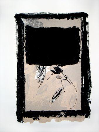 Gravure Tapies - Rectangle Noir Et Collage