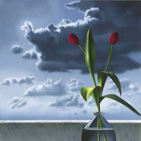 Aucune Technique Cohen - Red Tulips Against Cloudy Sky
