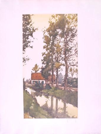 Eau-Forte Hebbelinck - Reflet dans le ruisseau