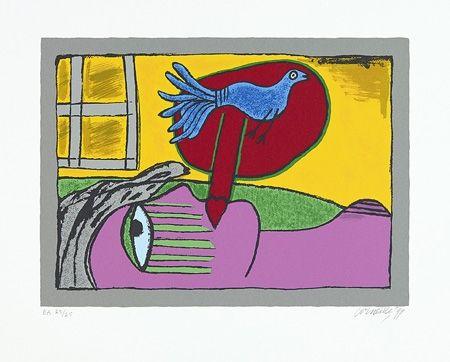 Sérigraphie Corneille - Regard sur l'oiseau