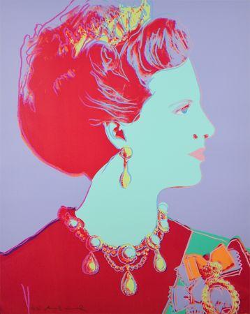Sérigraphie Warhol - Reigning Queens Series, Queen Margrethe II of Denmark (Violet)