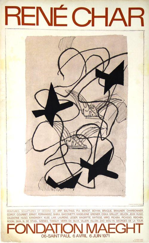 Lithographie Braque - René  Char  Exposition Fondation Maeght