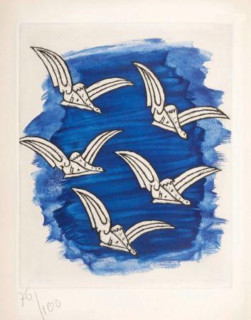 Livre Illustré Braque - René Char : LA BIBLIOTHÈQUE EST EN FEU. Avec une gravure originale de Georges Braque. 1956.