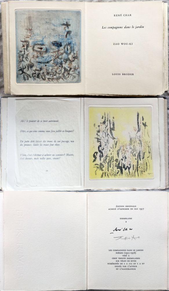Livre Illustré Zao - René Char : LES COMPAGNONS DANS LE JARDIN. 4 gravures originales en couleurs (1957)