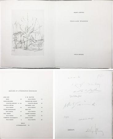 Livre Illustré Giacometti - René Crevel : FEUILLES ÉPARSES (Avec 14 gravures de Arp, Miro, Ernst, Man Ray, Masson, etc.) 1965.