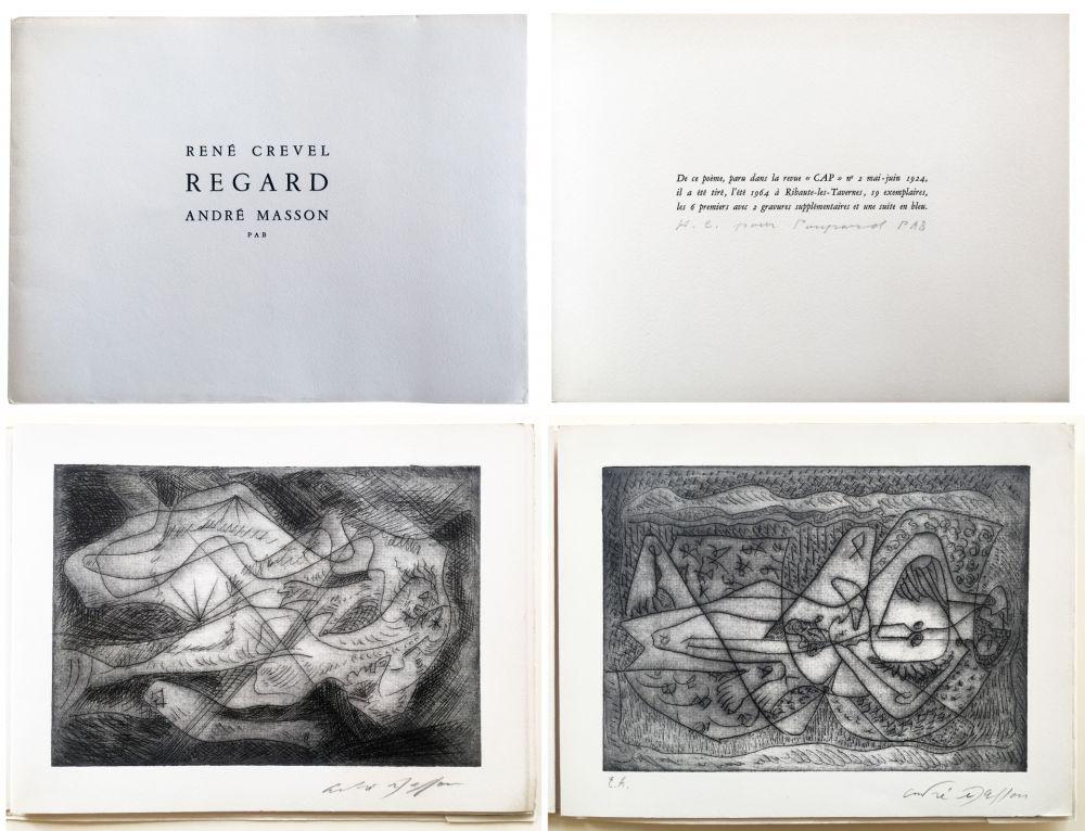 Livre Illustré Masson - René Crevel. REGARD. Gravure d'André Masson (1964)