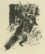 Lithographie Reboussin - Renard chassant / Fox Hunting (i.e., the fox is doing the hunting)