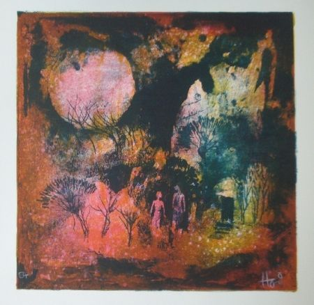 Lithographie Lebadang - Rendez vous sous la lune