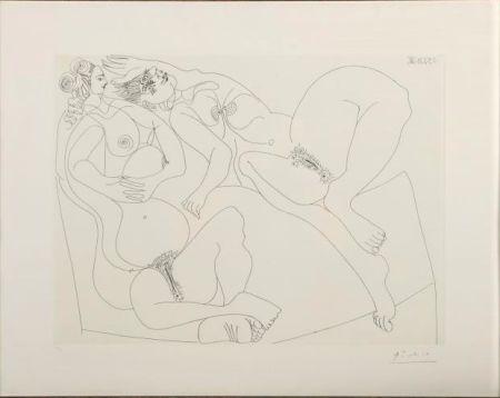 Eau-Forte Picasso - Repos. Deux Filles Bavardant