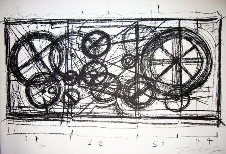 Lithographie Tinguely -  Requiem pour une feuille morte