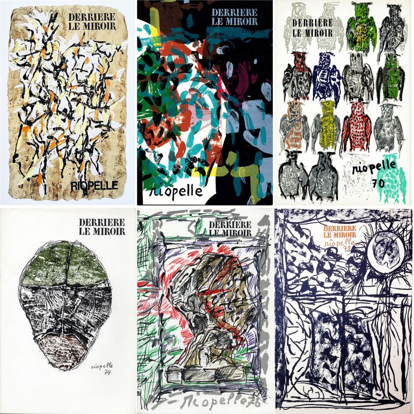 Livre Illustré Riopelle - RIOPELLE : Collection complète des 6 volumes de la revue DERRIÈRE LE MIROIR consacrés à Jean-Paul Riopelle (parus de 1966 à 1979). 49 LITHOGRAPHIES ORIGINALES.