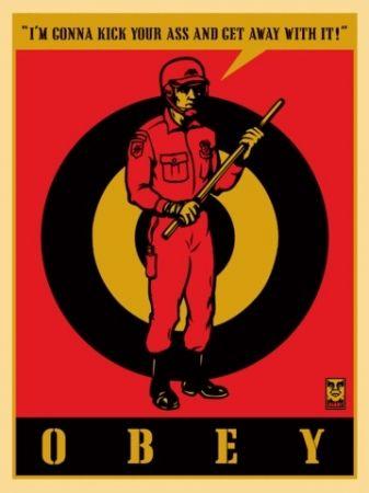 Sérigraphie Fairey - Riot Cop, Large Format