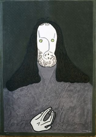 Eau-Forte Ortega - Ritratto mistico di monaco