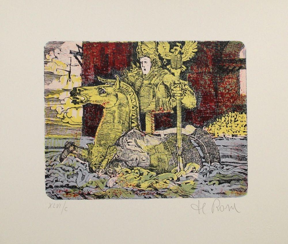 Lithographie De Rosa - Ritt durchs Wasser