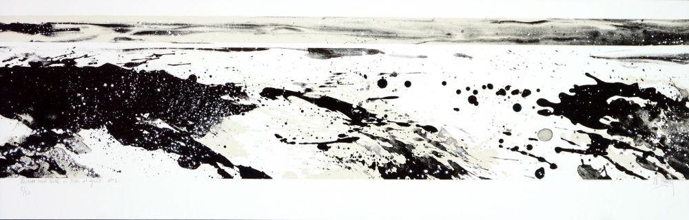 Lithographie Stholl - Roches & roll à contre vague 2 / N&B