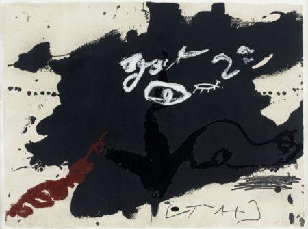 Gravure Tàpies - Roig i negre 1
