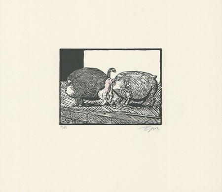 Linogravure Topor - Roméo et Juliette