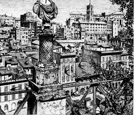Eau-Forte Disertori - Roma. Veduta del monte Capitolino dagli orti Farnesiani