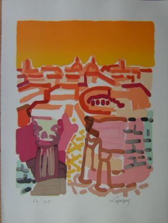 Lithographie Lapicque - Rome -Le Forum