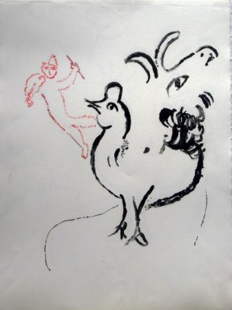 Lithographie Chagall - Rooster, Goat And Fidler - Stage I