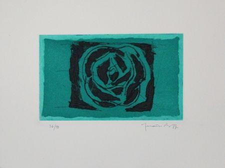 Eau-Forte Et Aquatinte Hernandez Pijuan - Rosa Verda / Green Rose
