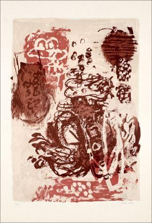 Lithographie Grau - Rose et marron