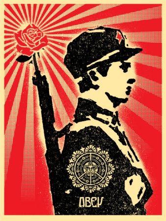 Sérigraphie Fairey - Rose Soldier
