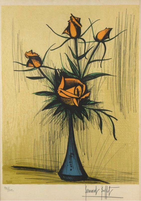 Aucune Technique Buffet - Roses dans un vase bleu. 1979.