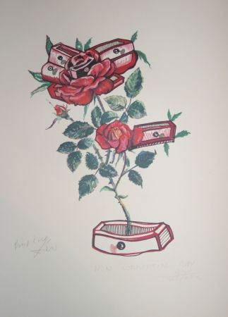 Lithographie Dali - Roses of Memory (surrealistic flowers)