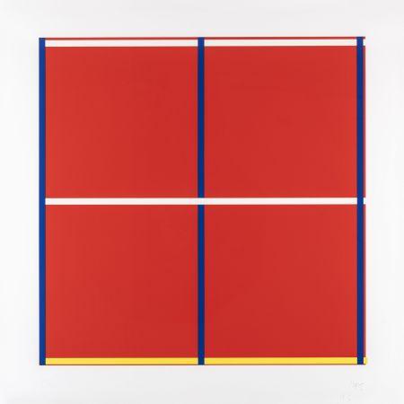 Sérigraphie Knoebel - Rot, Gelb, Weiss, Blau 01