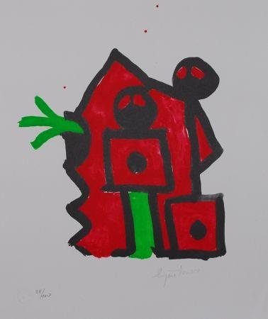 Lithographie Ionesco - Rouge au noir