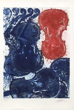 Gravure Arman - Rouge et bleu