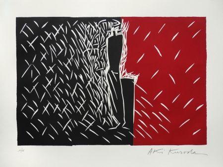 Linogravure Kuroda - Rouge et noir