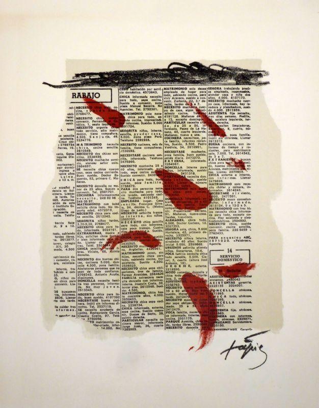 Lithographie Tàpies - Rouge sur papier journal