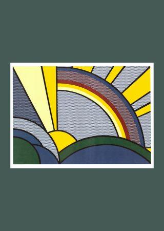 Sérigraphie Lichtenstein - Roy Lichtenste n 'Modern Painting of Sun Rays' 1972 Original Pop Art Poster with COA