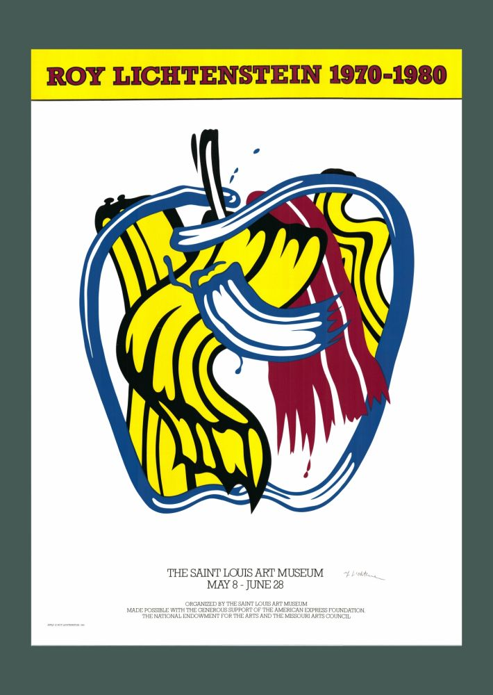 Sérigraphie Lichtenstein - Roy Lichtenstein 'Apple' 1981 Hand Signed Original Pop Art Poster