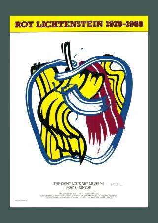 Sérigraphie Lichtenstein - Roy Lichtenstein 'Apple' 1981 Hand Signed Original Pop Art Poster with COA