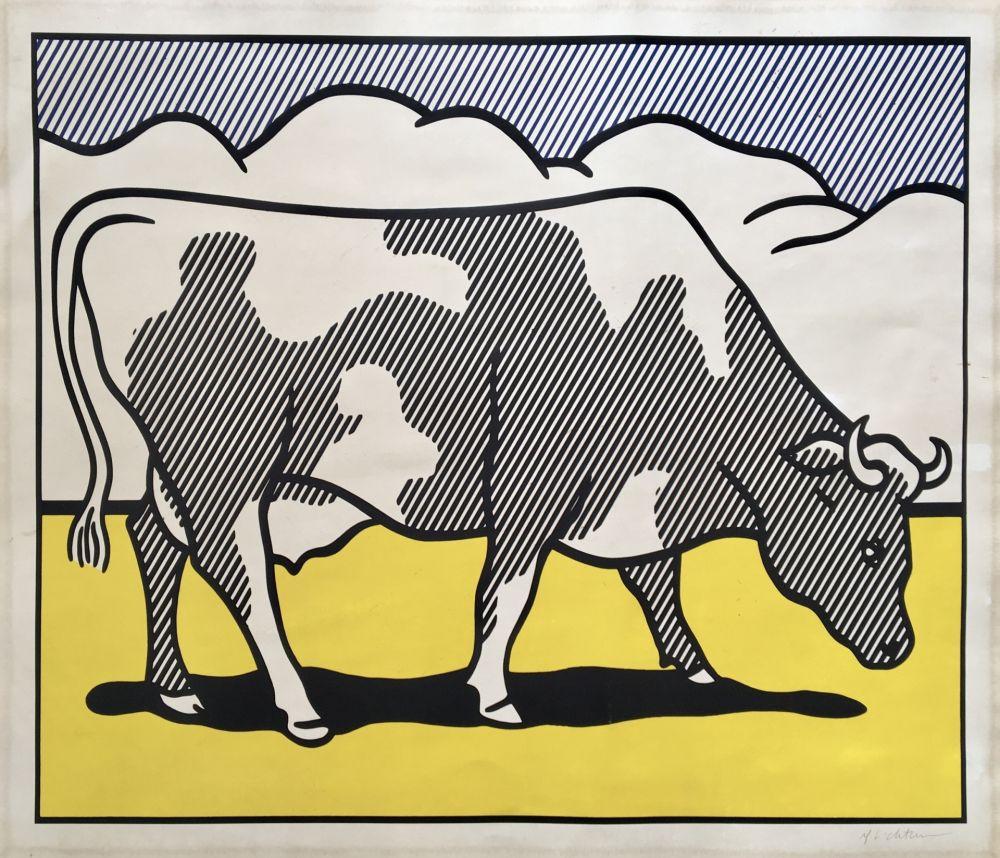 Sérigraphie Lichtenstein - Roy Lichtenstein 'Cow Going Abstract' 1982 Hand Signed Original Pop Art Diptych Poster Set