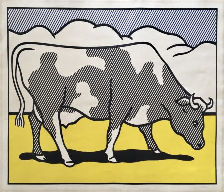Sérigraphie Lichtenstein - Roy Lichtenstein 'Cow Going Abstract' 1982 Hand Signed Original Pop Art Diptych Poster Set