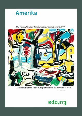 Lithographie Lichtenstein - Roy Lichtenstein 'Figures in Landscape (Amerika/Europa)', Original Pop Art Poster, Hand Signed, 1986