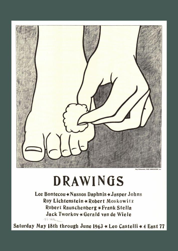 Lithographie Lichtenstein - Roy Lichtenstein 'Foot Medication (Castelli Mailer)', 1963 Hand Signed Original Pop Art Poster