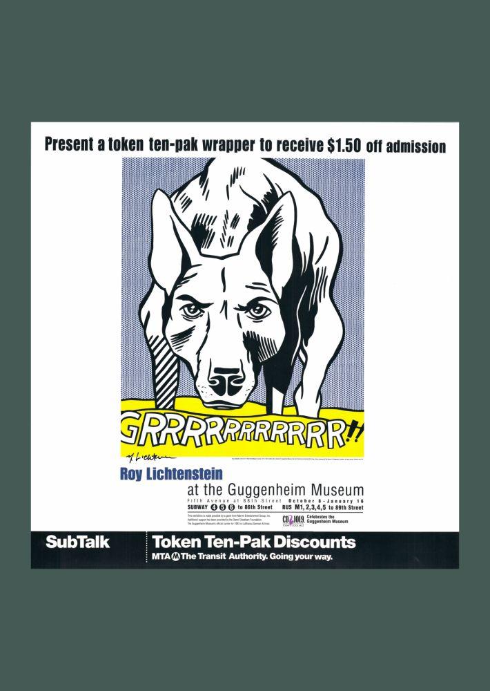 Lithographie Lichtenstein - Roy Lichtenstein 'Grrrrrrrrrrr!!' 1993 Hand Signed Original Pop Art Poster