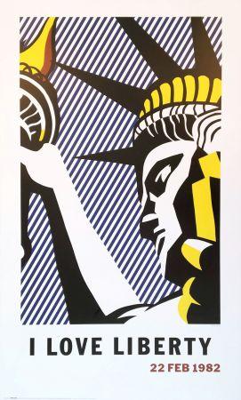 Lithographie Lichtenstein - Roy Lichtenstein 'I Love Liberty' 1982 riginal Pop Art Poster with COA