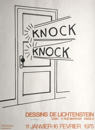 Lithographie Lichtenstein - Roy Lichtenstein 'Knock Knock' 1975 Hand Signed Original Pop Art Poster